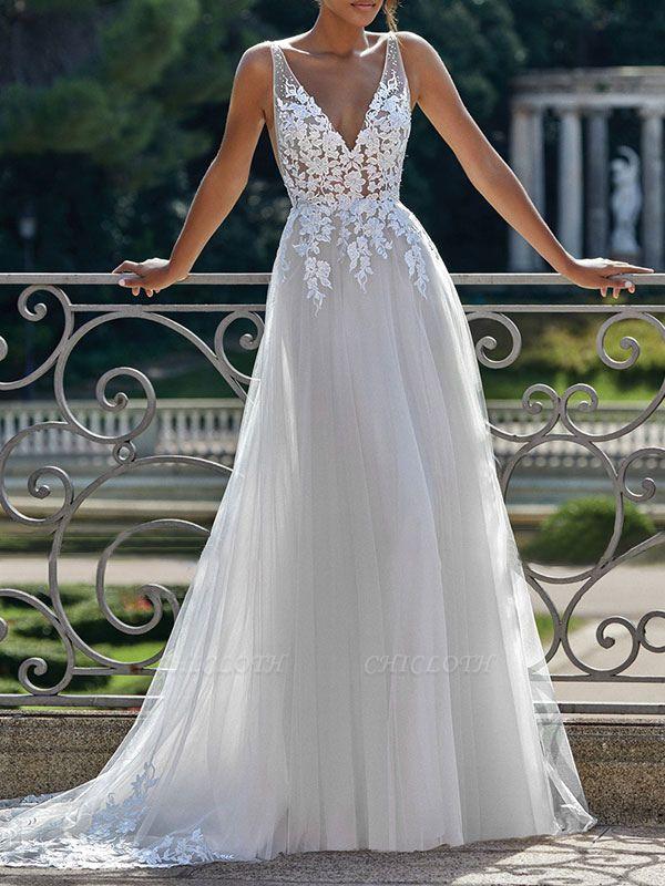 Vintage Wedding Dress 2021 A Line V Neck Straps Sleeveless Lace Appliqued Tulle Bridal Gown