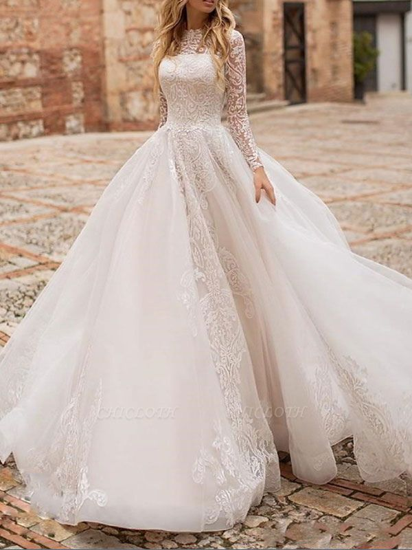 White Wedding Dress A Line Illusion Neckline Long Sleeves Applique With Chapel Train Bridal Gowns