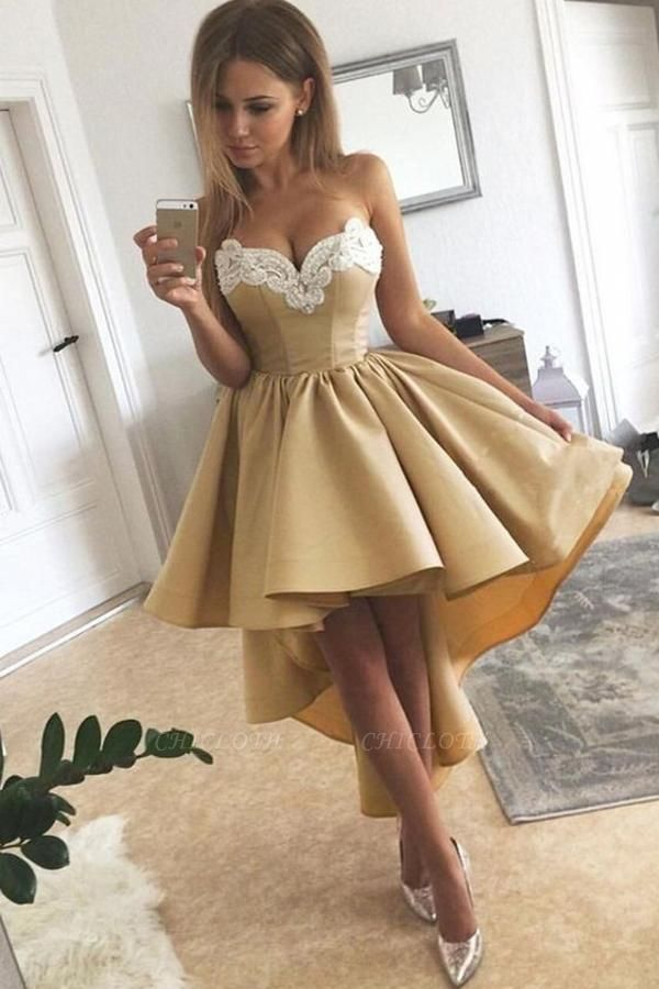 Gold Homecoming Dresses With Lace Hi Lo Hoco Dress