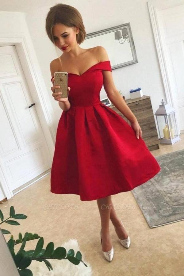 Simple Red Short Prom Dresses Off Shoulder Homecoming Dress