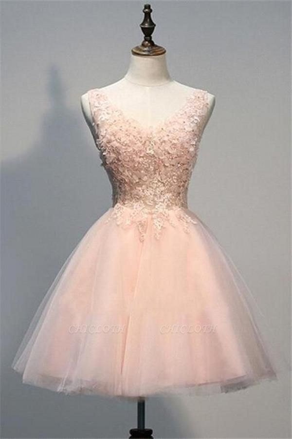 Simple Pearl Pink Homecoming Dresses Lace Short Prom Gowns