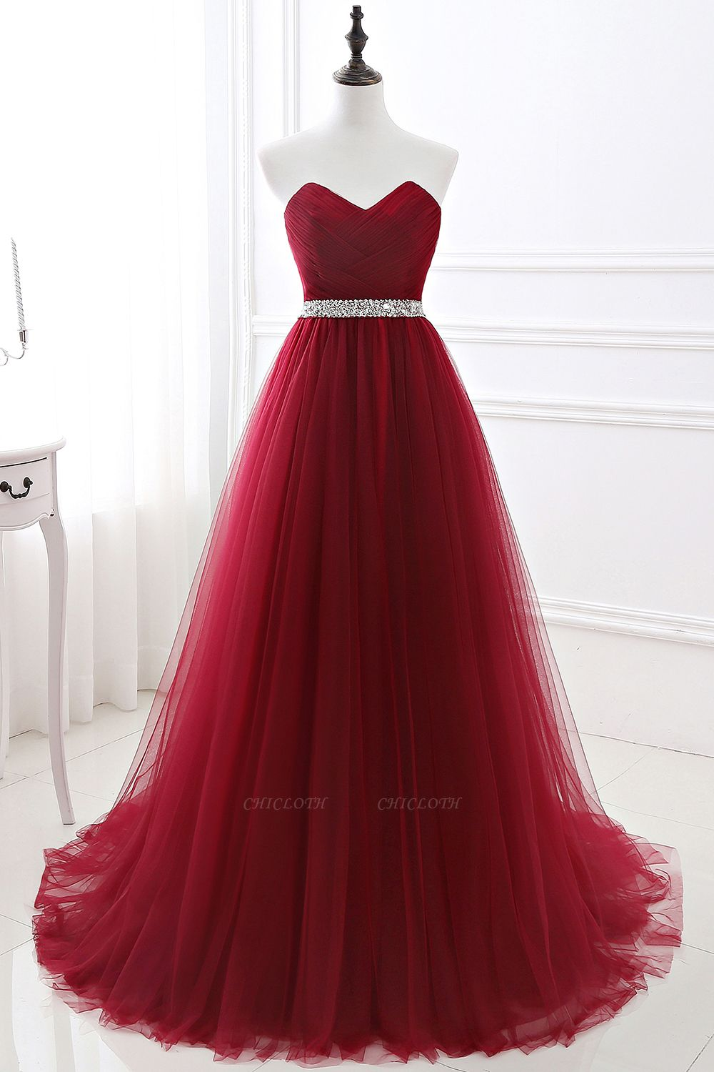 Women's Strapless Soft Tulle Dark Red Prom Dress