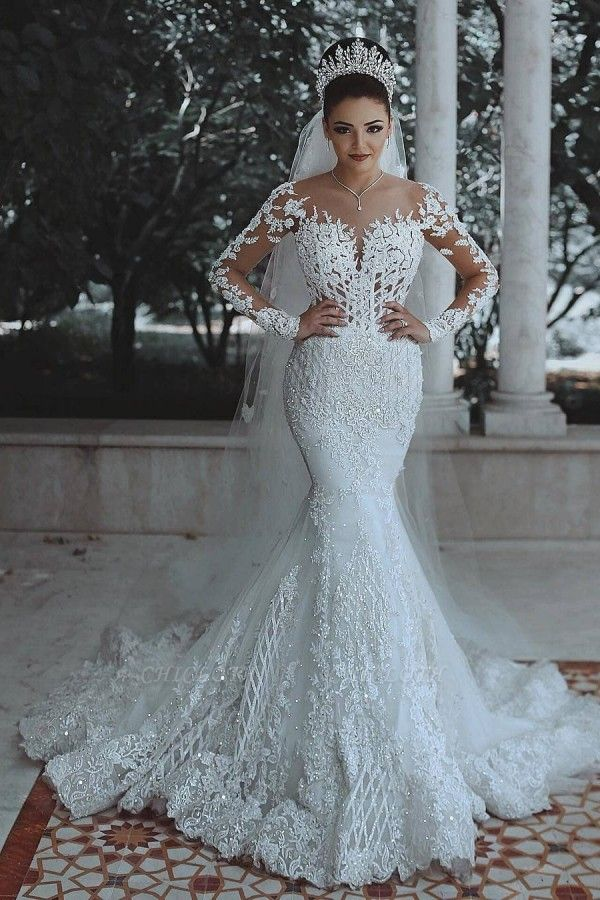 SDBA9863 Luxury Lace Mermaid Long Sleeve Wedding Dresses