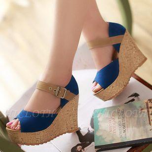 Women's Buckle Peep Toe Heels Nubuck Wedge Heel Sandals
