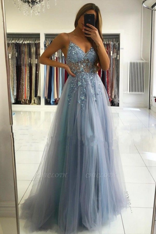 ZY024 Luxury Evening Dresses Blue Prom Dresses Long Glitter