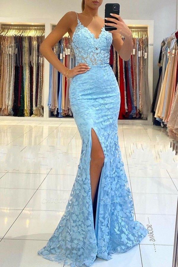 ZY026 Elegant Evening Dresses Blue Lace Prom Dresses Mermaid