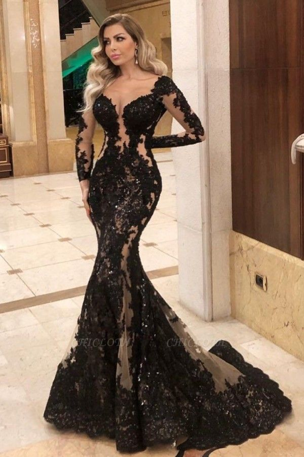 ZY084 Black Evening Dresses With Sleeves Top Evening Wear Online