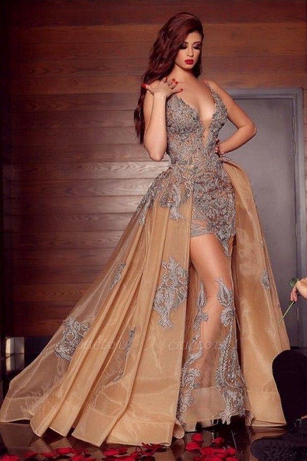 ZY080 Elegant Long Evening Dresses Cheap Prom Dresses V Neckline With Lace
