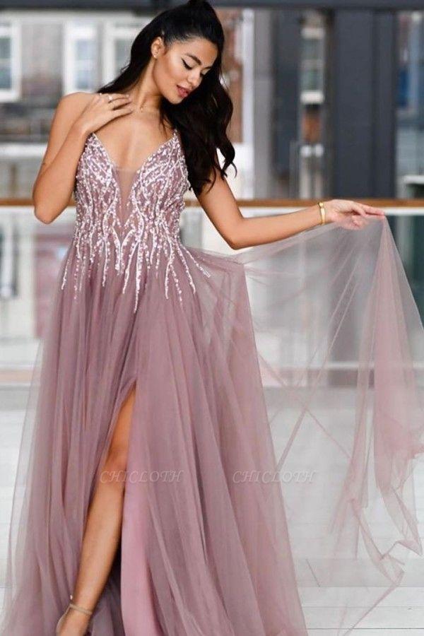 ZY019 Evening Dresses Long V Neck Prom Dresses Evening Wear Cheap