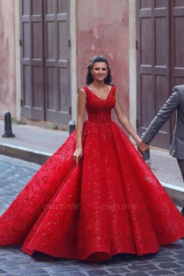 ZY086 Luxury Evening Dresses Long Red | Evening Wear V Neckline