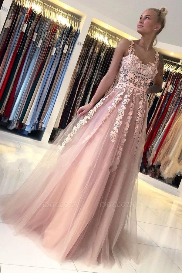 ZY025 Gorgeous Evening Dresses Long Pink Prom Dresses With Lace