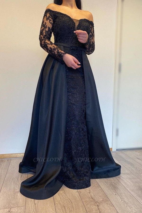 ZY007 Evening Dresses Long With Sleeves Evening Dress Black