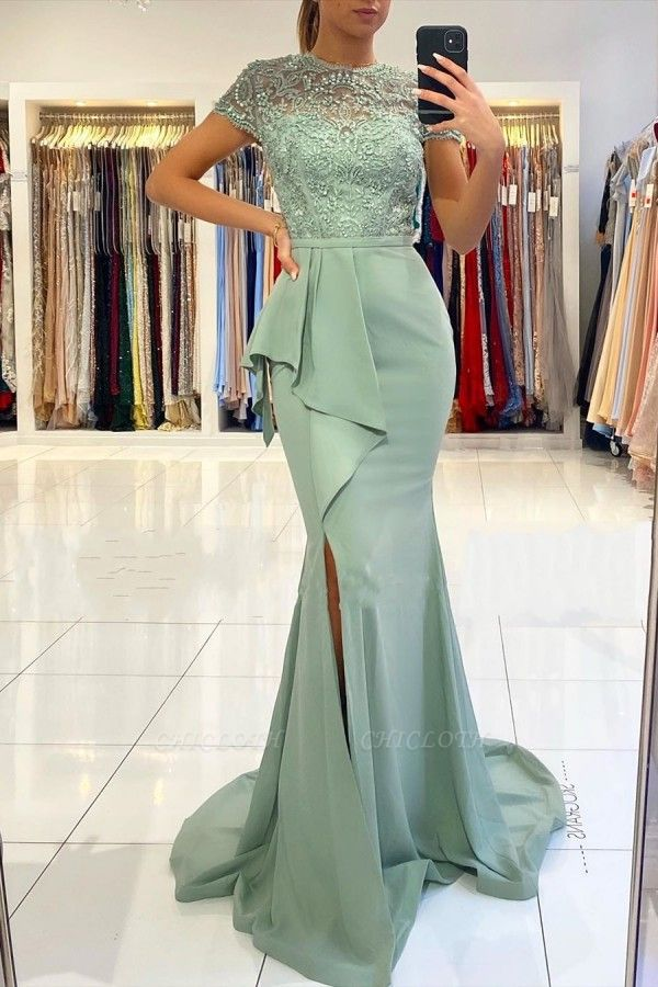 ZY021 Designer Evening Dresses With Lace Prom Dresses Cheap