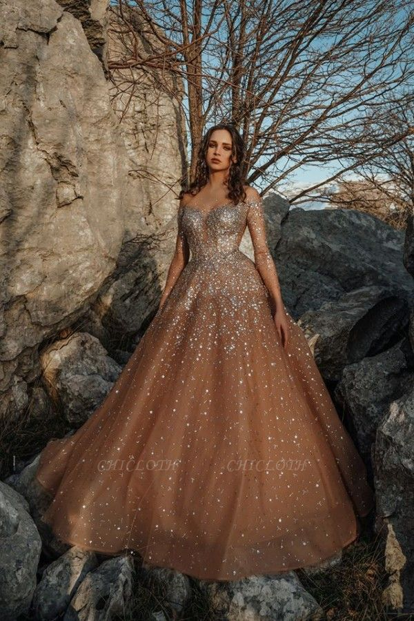 ZY050 Luxury Evening Dresses Long Glitter Prom Dresses With Sleeves