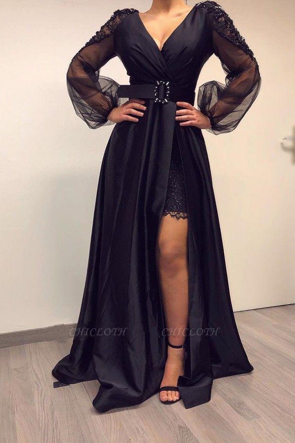 ZY017 Elegant Evening Dresses Long Black Prom Dresses With Sleeves