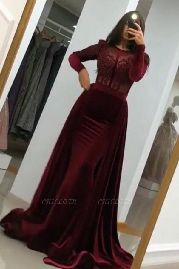 ZY051 Wine Red Evening Dresses With Sleeves Elegant Evening Wear Velvet Online