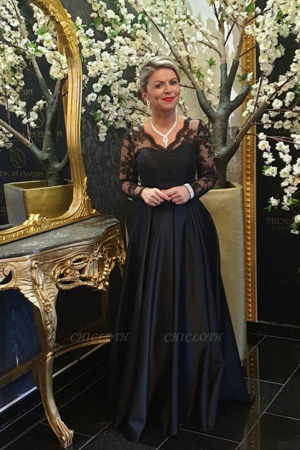 ZY011 Black Mother Of The Bride Dress Cheap Mother Of The Bride Dresses Long With Sleeve
