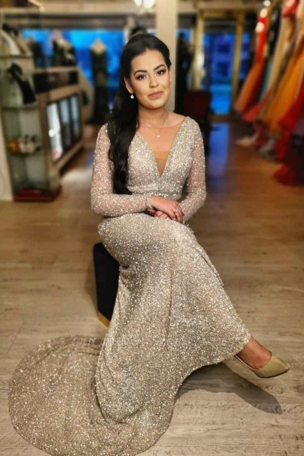 ZY009 Evening Dresses Long Glitter Cheap Prom Dresses With Sleeves