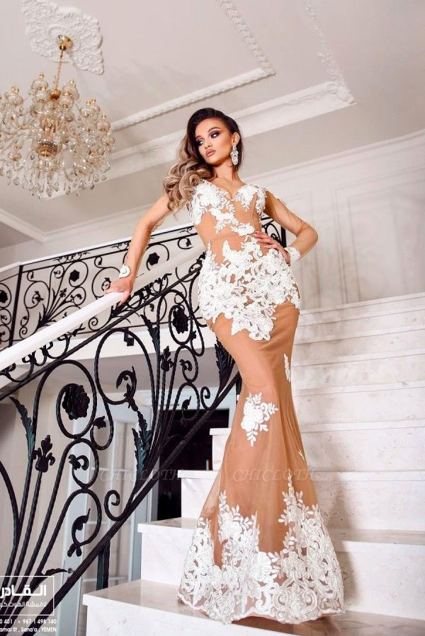 ZY083 Beautiful Evening Dresses With Sleeves Long Lace Prom Dresses