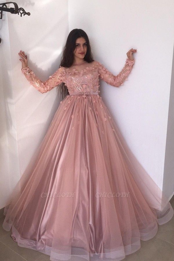 ZY015 Evening Dresses Long Pink Prom Dresses With Sleeves