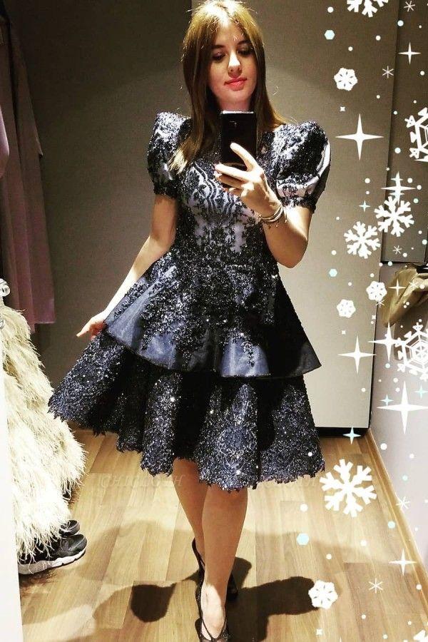 ZY042 Black Cocktail Dresses Short Evening Dresses With Lace Online