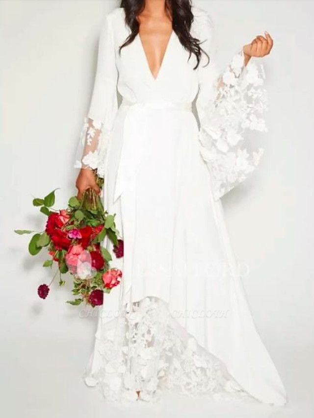 A-Line Wedding Dresses V Neck Floor Length Chiffon Lace Long Sleeve Casual Illusion Detail
