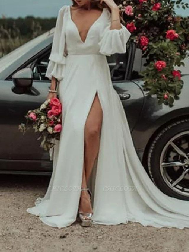 A-Line Wedding Dresses Plunging Neck Sweep \ Brush Train Chiffon Long Sleeve Country Plus Size