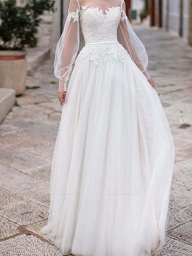 A-Line Wedding Dresses Jewel Neck Floor Length Lace Tulle Long Sleeve Country Plus Size Illusion Sleeve