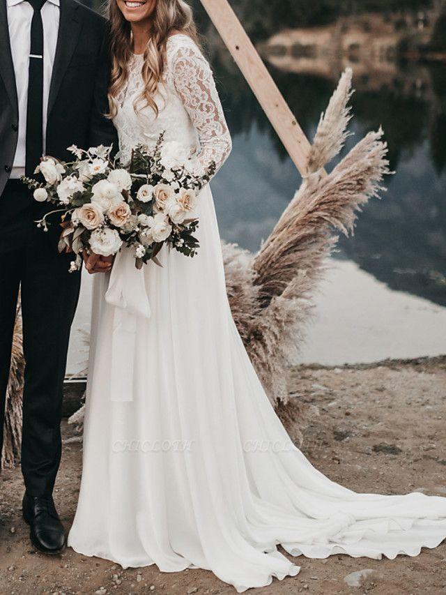A-Line Wedding Dresses Jewel Neck Sweep \ Brush Train Chiffon Lace Long Sleeve Beach