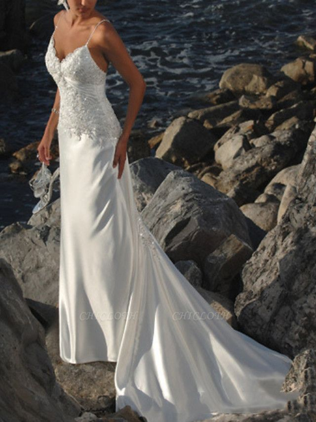 Mermaid \ Trumpet Wedding Dresses V Neck Sweep \ Brush Train Lace Sleeveless Formal Beach