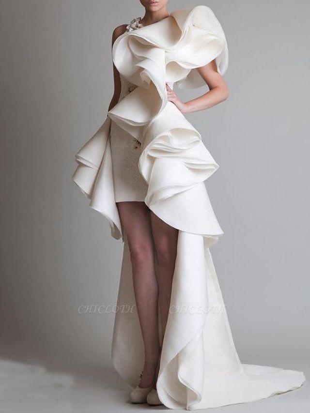 Sheath \ Column Wedding Dresses One Shoulder Asymmetrical Polyester Short Sleeve Vintage Plus Size