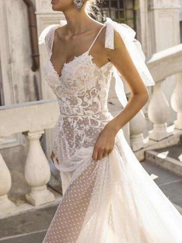 A-Line Wedding Dresses V Neck Sweep \ Brush Train Lace Spaghetti Strap