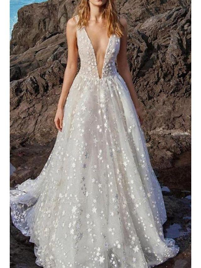A-Line V Neck Floor Length Chiffon Tulle Regular Straps Boho Wedding Dresses