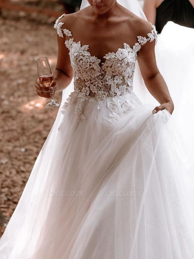 A-Line Wedding Dresses Jewel Neck Sweep \ Brush Train Lace Tulle Short Sleeve Sexy See-Through
