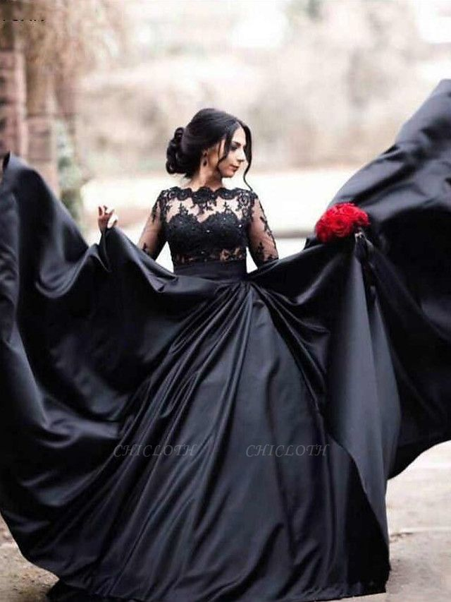 A-Line Bateau Neck Floor Length Lace Satin Long Sleeve Black Modern Illusion Sleeve Wedding Dresses