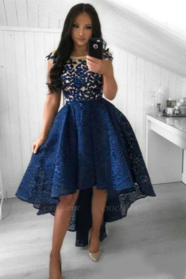 ZY137 Cocktail Dress Short Blue Prom Dresses Evening Dresses Lace