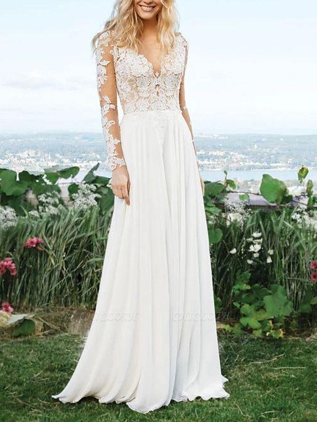 A-Line Wedding Dresses V Neck Sweep \ Brush Train Polyester Long Sleeve Vintage Illusion Detail