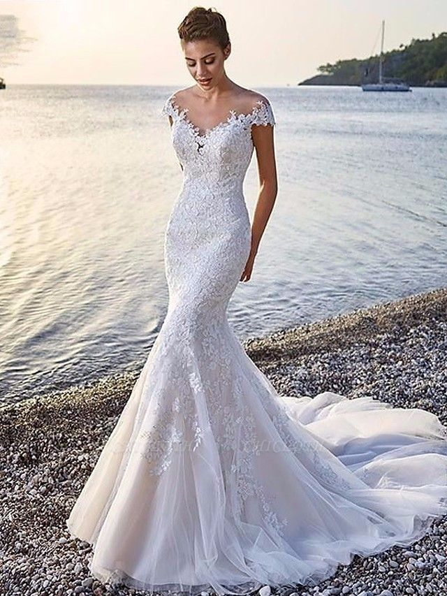 Mermaid \ Trumpet Wedding Dresses Scoop Neck Court Train Organza Sleeveless Sexy Wedding Dress in Color