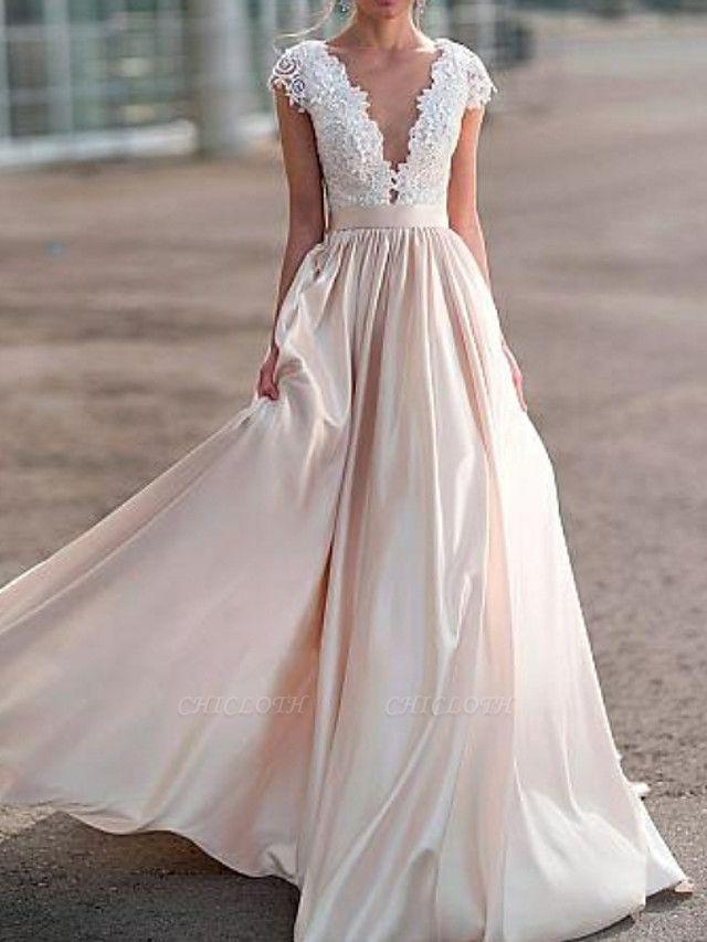 A-Line Wedding Dresses V Neck Sweep \ Brush Train Satin Cap Sleeve Romantic Illusion Detail