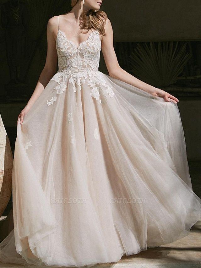A-Line Wedding Dresses V Neck Sweep \ Brush Train Lace Tulle Spaghetti Strap Boho Plus Size