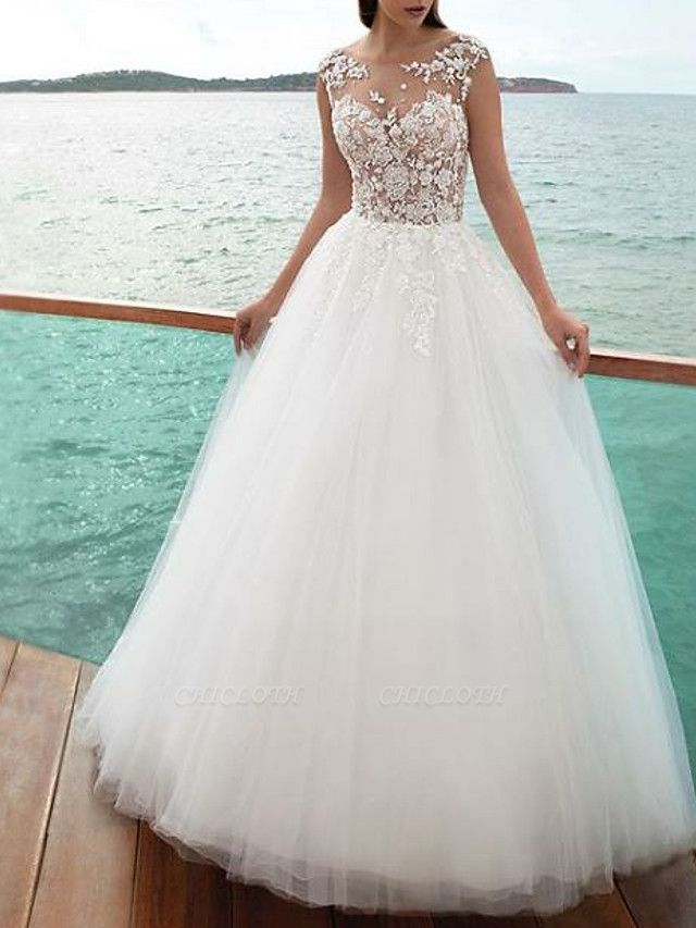 A-Line Wedding Dresses Jewel Neck Sweep \ Brush Train Lace Tulle Regular Straps Romantic Beach Illusion Detail Backless