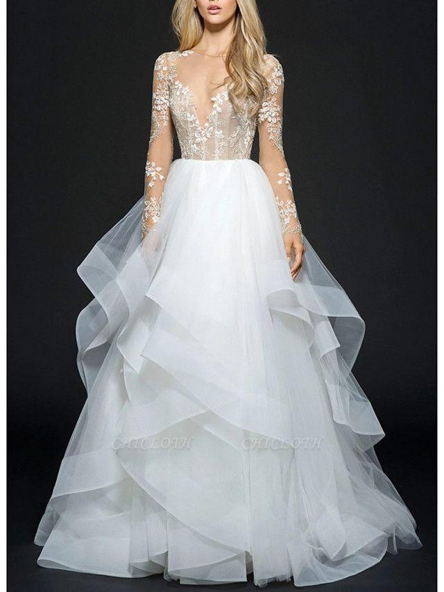 Ball Gown Wedding Dresses V Neck Floor Length Organza Long Sleeve Illusion Sleeve