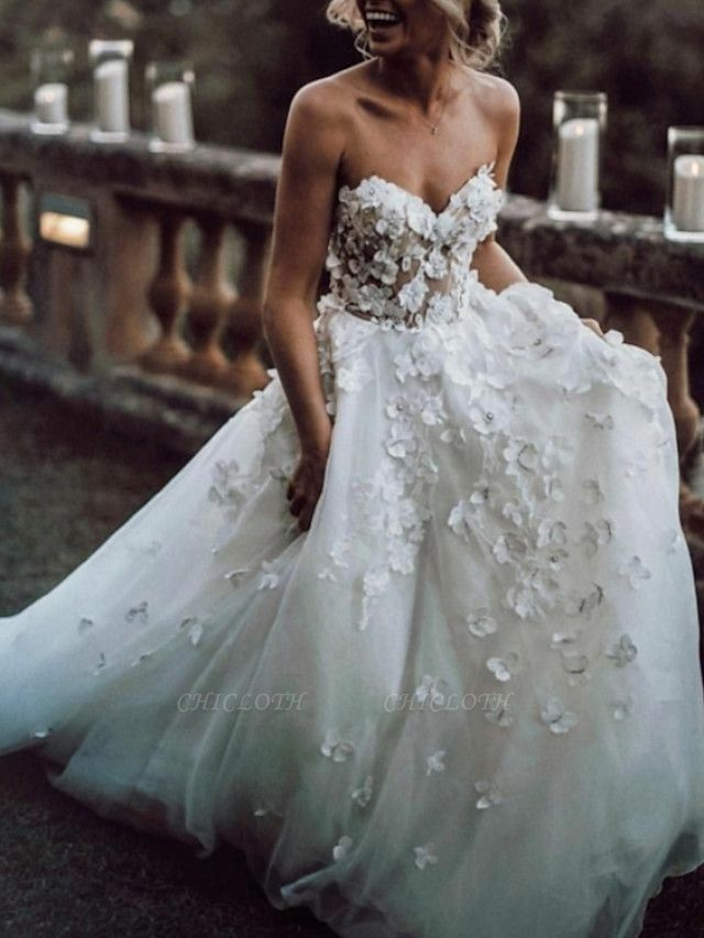 A-Line Wedding Dresses Strapless Sweep \ Brush Train Lace Tulle Sleeveless Beach Sexy Backless