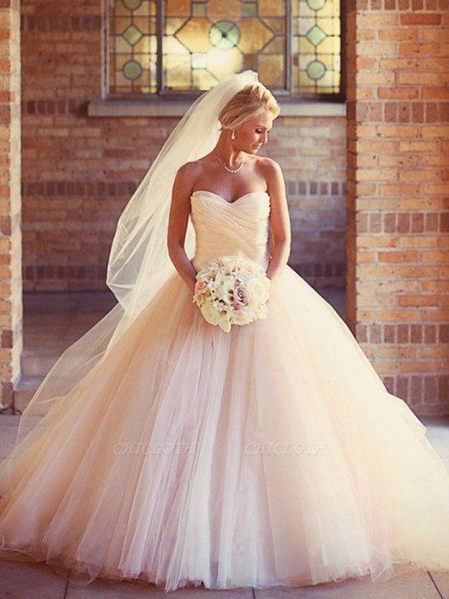 Ball Gown Wedding Dresses Strapless Court Train Tulle Strapless Formal Little White Dress