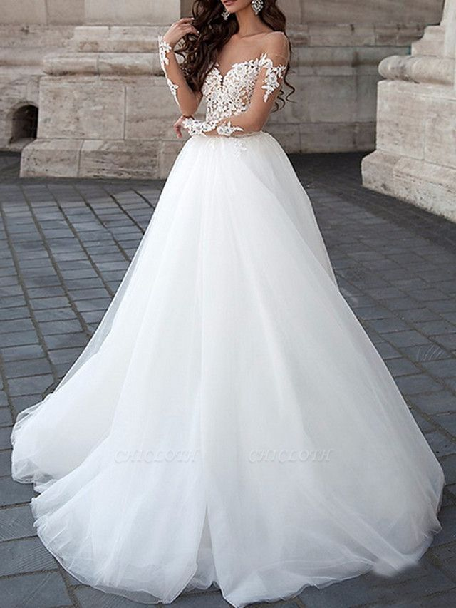 A-Line Wedding Dresses Strapless Floor Length Lace Tulle Long Sleeve Formal Illusion Sleeve