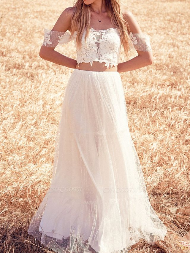 Two Piece Wedding Dresses Off Shoulder Sweep \ Brush Train Tulle Short Sleeve Beach