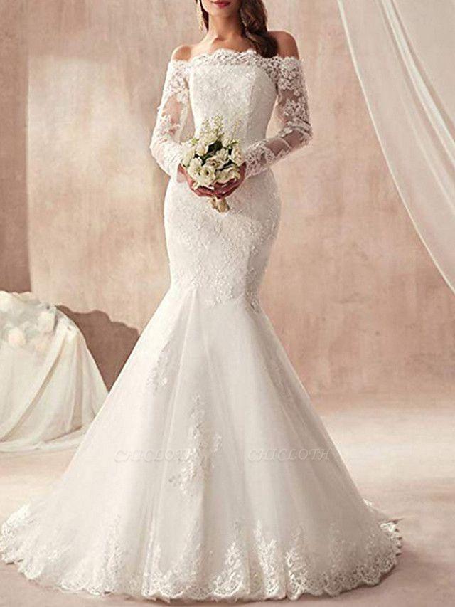 Mermaid \ Trumpet Wedding Dresses Off Shoulder Sweep \ Brush Train Tulle Regular Straps Illusion Sleeve