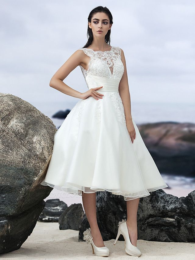 A-Line Wedding Dresses Bateau Neck Knee Length Organza Regular Straps Formal Casual Little White Dress Illusion Detail Backless