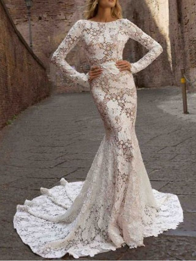 Mermaid \ Trumpet Jewel Neck Sweep \ Brush Train Polyester Long Sleeve Country See-Through Plus Size Illusion Sleeve Wedding Dresses