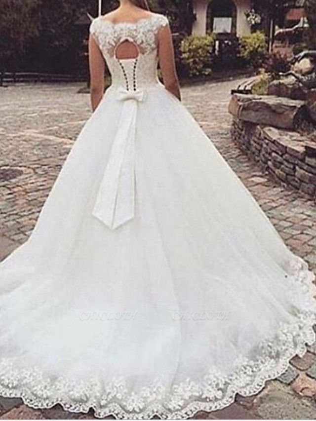 A-Line Wedding Dresses Jewel Neck Sweep \ Brush Train Tulle Regular Straps